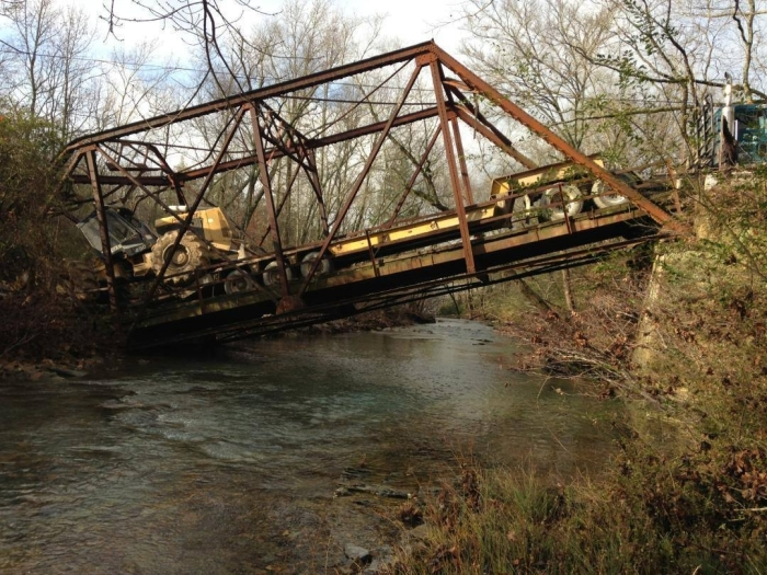 Side view of the bridge collapse with the rig on there. Photo courtesy of Jeremy Lance