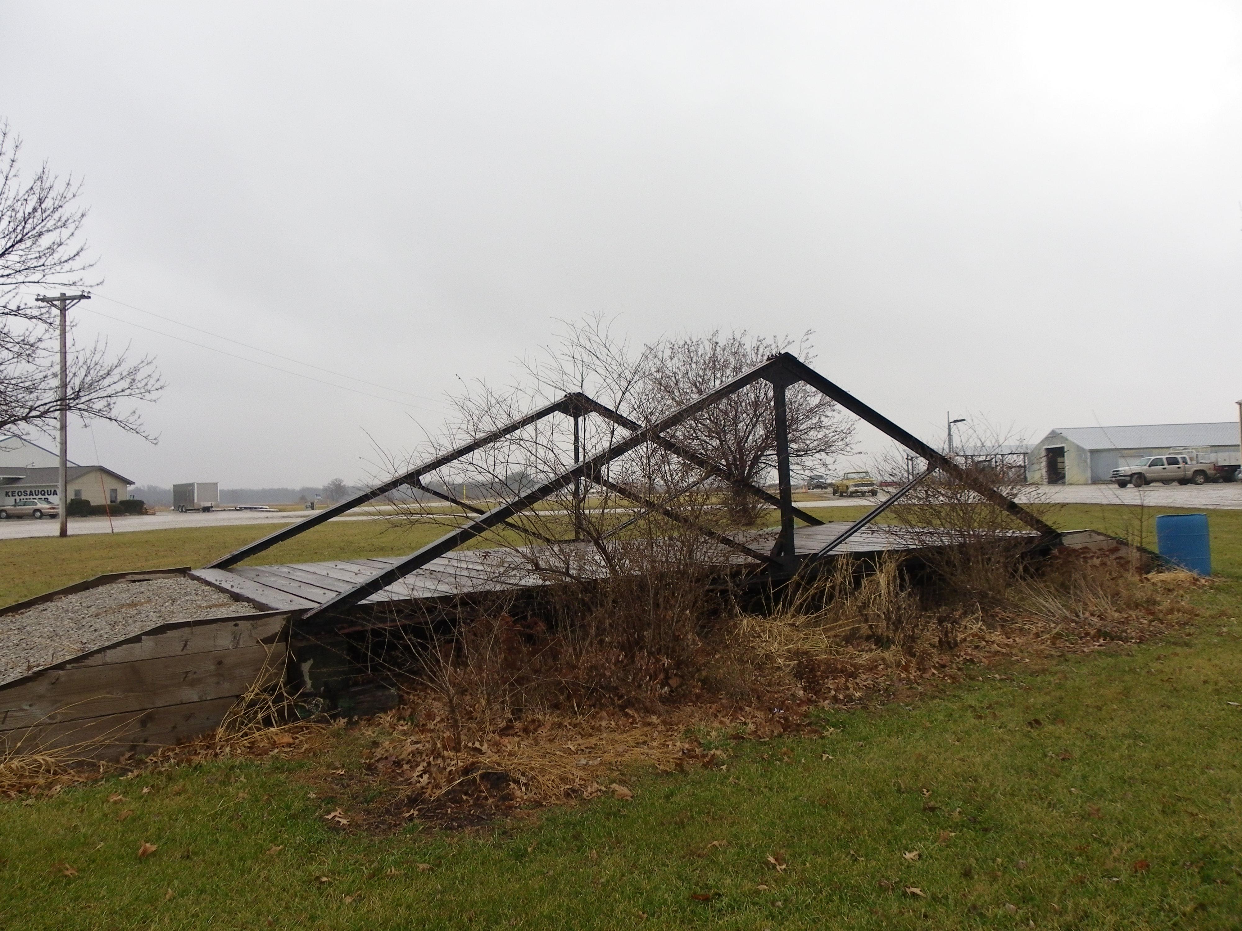 Waddell Pony Truss Bridge outside the Van Buren County Highway Dept. in Keosaqua, Iowa. Photo taken in Dec. 2014
