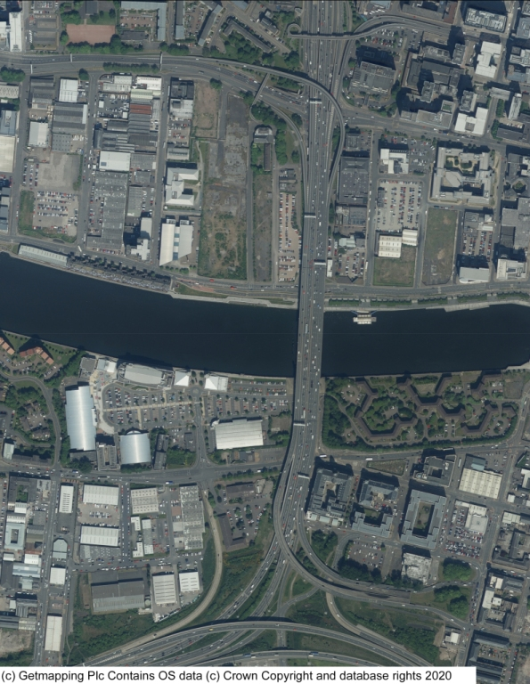 Aerial photo view of the Kingston Bridge from above.